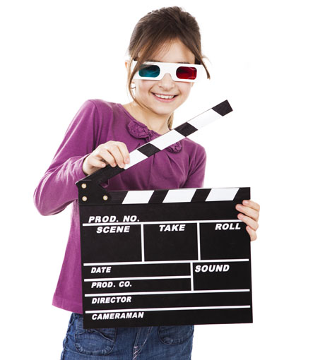 movie party - girl with clapperboard