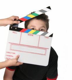 boy with clapperboard